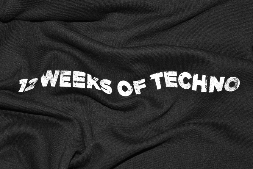 scuba 12 weeks of techno printed t-shirts for xoyo london