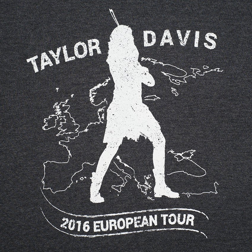 Taylor Davis European tour 2016 printed tshirts