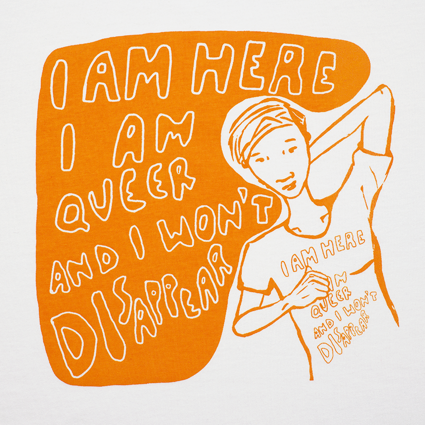 Casscomics tshirt, I am here I am queer and I won't disappear